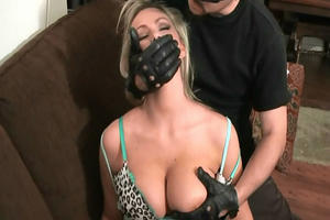 strict mistress punishes her female submissive with spanking and